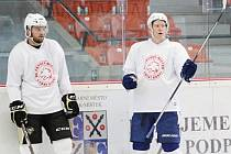KAMARÁDI. Dominik Uher (vlevo) se na novou sezonu v NHL připravuje ve Frýdku-Místku společně se svým kamarádem Ondřejem Palátem.