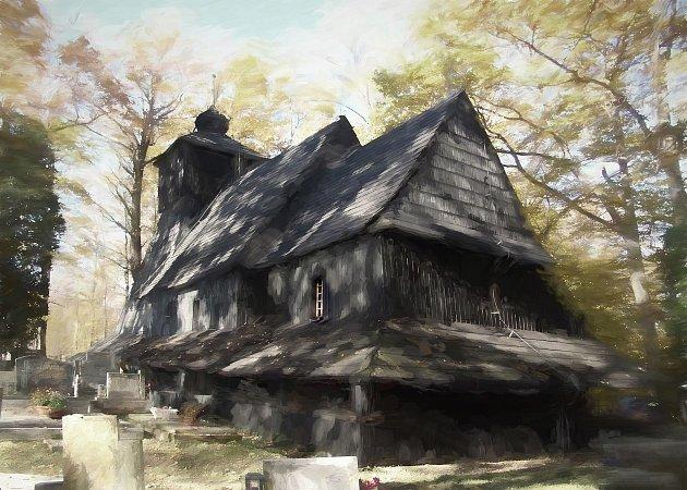 Gutský kostelík (upravená fotografie).