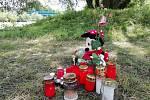 Pietní místa okolo řeky ve Frýdku-Místku jako symbol vzpomínky za utonulou dívku