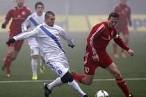 Třinecký kapitán Pavel Malíř (v červeném) při utkání Tipsport ligy s Frýdkem-Místkem.