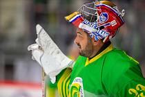 Exhibiční utkání legend v repríze finále z roku 1998 mezi HC Železárny Třinec - Petra Vsetín, 8. listopadu 2019 v Třinci. Roman Čechmánek.