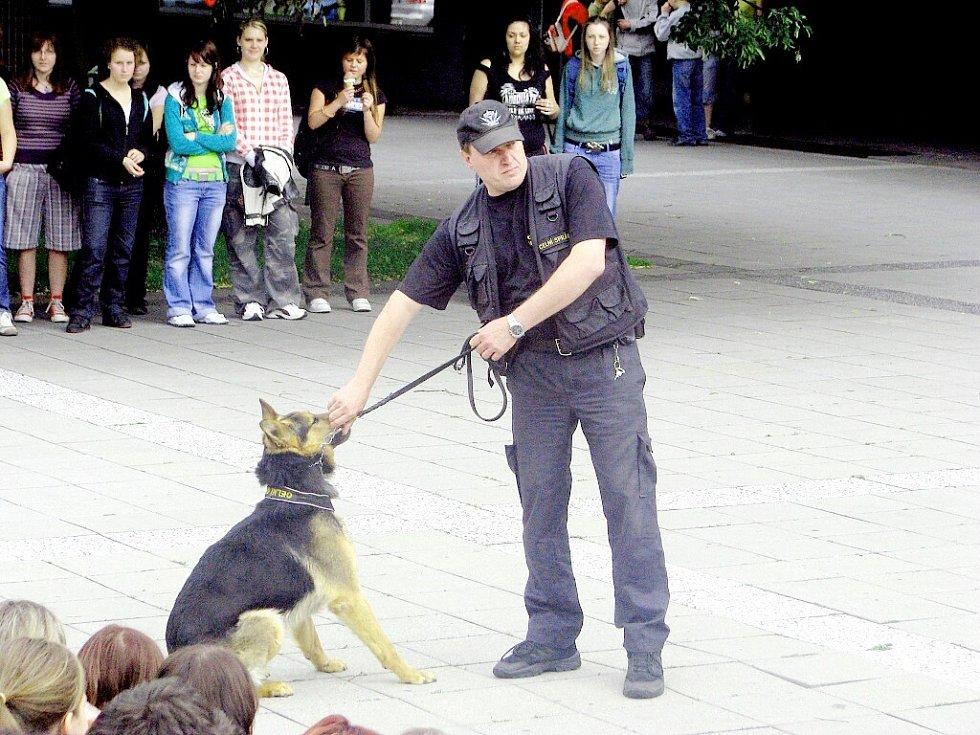 Zaměstnanci celní správy žákům několika škol předvedli, jak s vycvičenými psy vyhledávají drogy.