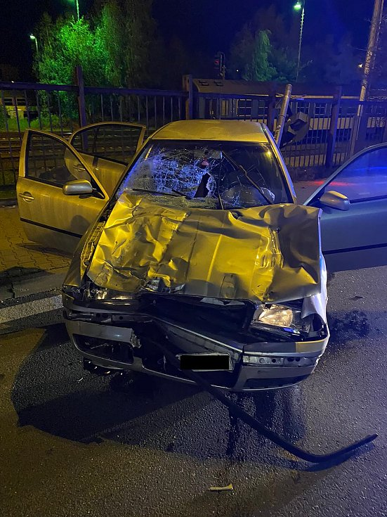 Dopravní nehoda na železničním přejezdu v ulici Nádražní ve Frýdku-Místku.