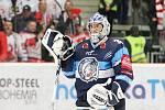 Finále play off hokejové extraligy - 6. zápas HC Oceláři Třinec - Bílí Tygři Liberec, 28. dubna 2019 v Třinci. Na snímku brankář Liberce Roman Will.