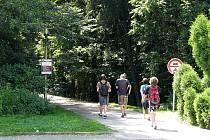 V Třinci odstartovala první etapa revitalizace lesoparku. Kácení začne již v sobotu 25. července, lidé měli využívat pouze zpevněné komunikace. Na snímku vstup na Koperníkově ulici.