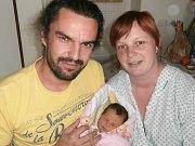 Magdaléna Bílková s rodiči, Mošnov, nar. 6. 11., 55 cm, 3,6 kg. Nemocnice ve Frýdku-Místku.