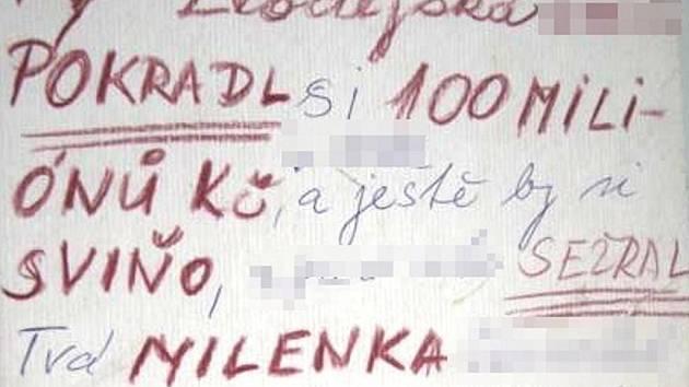 Část jednoho z dopisů, který zaslala žárlivá matka provozní hotelu.