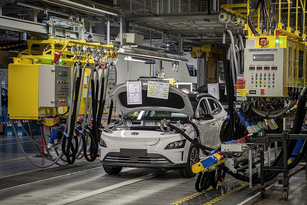 Automobilka Hyundai oslaví první výročí zahájení sériové výroby modelu Hyundai Kona Electric, 15. března 2021 v Nošovicích.