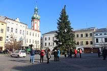 Stavění vánočního stromu na místeckém náměstí.