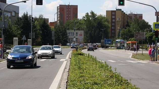Masarykova třída v centru Orlové před rekonstrukcí.