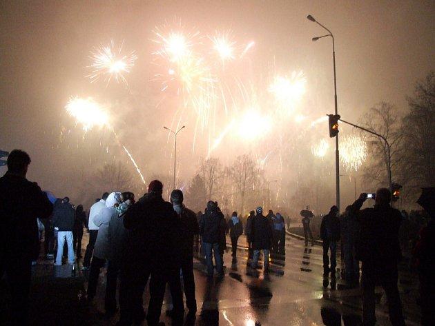 Novoroční ohňostroj v Havířově.