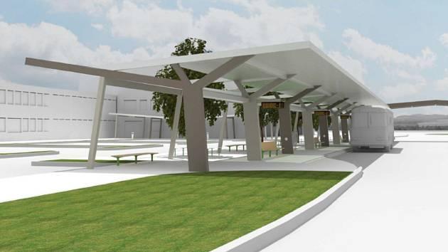 Budoucí podoba prostoru před železniční stanicí v Havířově.