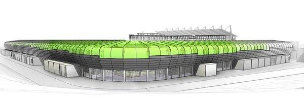 Navržená podoba fotbalového stadionu vKarviné.