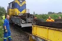 Srážka lokomotivy s drezinou.