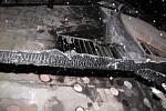 Následky požáru přístavku v Petřvaldě.