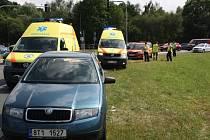 Nehoda na velkém kruhovém objezdu v Havířově.
