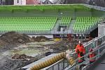 Stavba fotbalového stadionu v Karviné.