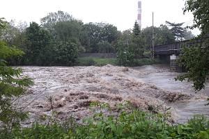 Řeka Olše mezi Českým a polským Těšínem 23. 5. 2019.