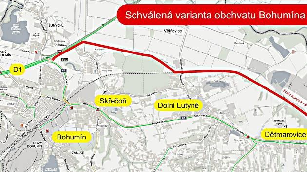 Mapa trasy plánovaného obchvatu.