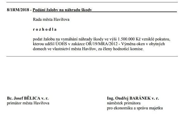 Usnesení Rady města Havířova kpodání žaloby na členy komise ze dne 5.11.2018.