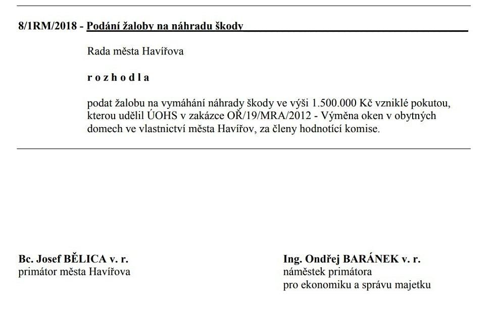 Usnesení Rady města Havířova k podání žaloby na členy komise ze dne 5. 11. 2018.
