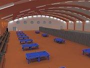 Vizualizace budoucí podoby haly pro stolní tenis.