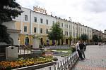 Město Mukačevo v Zakarpatské oblasti západní Ukrajiny. Centrum města.