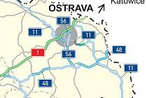 Mapa nového pojetí dálniční sítě. Oranžově je vyznačen úsek Ostrava - Šenov, zeleně Šenov - Havířov. Na mapě jsou vyznačeny i zatím neexistující úseky z Bohumína přes Havířov po slovenskou Hranici.