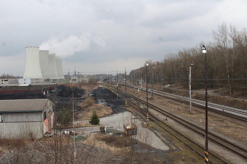 Dětmarovice. Kolejiště před elektrárnou.