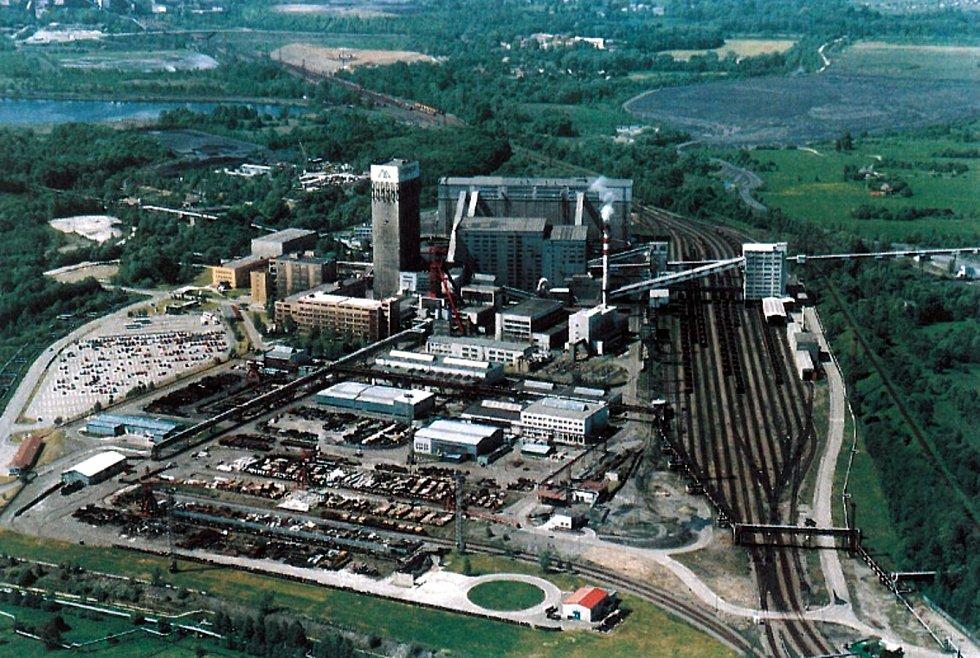 Stonava, letecký snímek areálu Dolu Darkov.