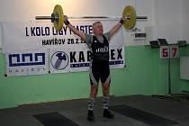 1. kolo ligy masters ve vzpírání v Havířově. Nejstarší účastník soutěže 72letý Pavel Klátil z Ostravy.