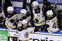 Útočník David Pastrňák (dole) přispěl gólem a přihrávkou v úvodním utkání 2. kola play off NHL k výhře hokejistů Bostonu 3:2 nad Tampou Bay.