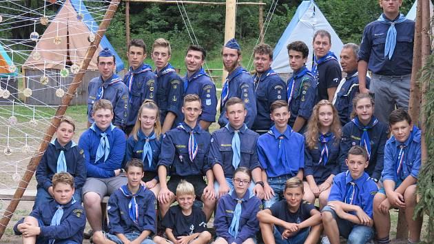 Letní tábor vodáckého oddílu v rezervaci Česká Kanada.