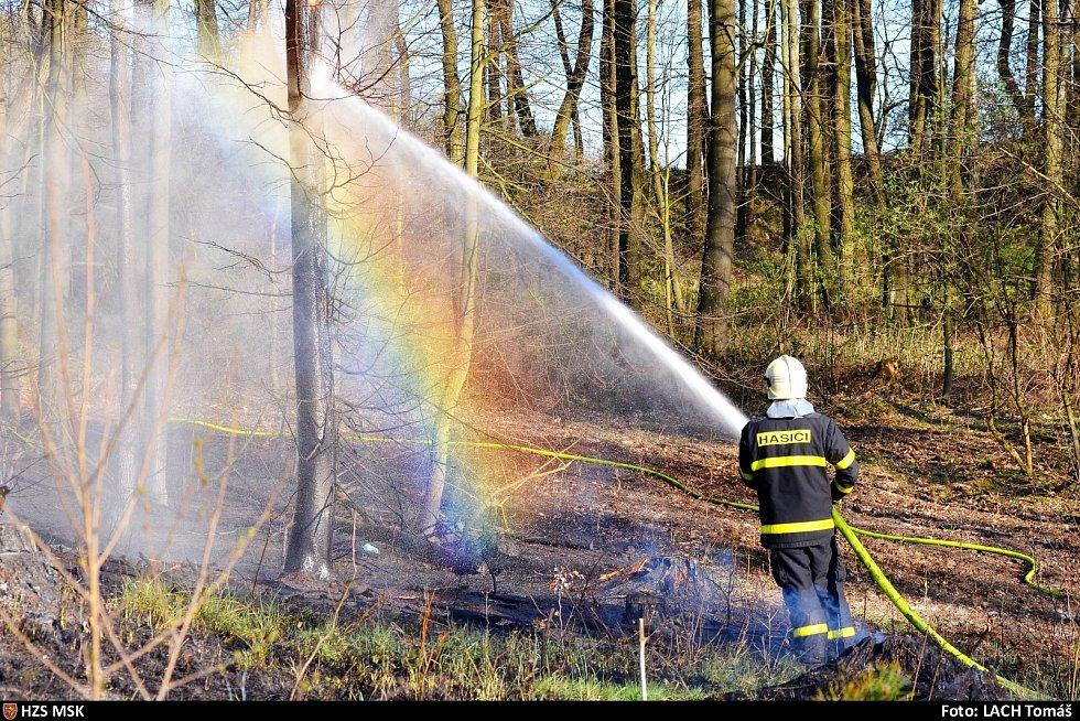 Požár lesa v Petřvaldě.