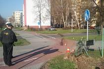 Osobní auto (na snímku v pozadí) vjelo na chodník a nabouralo do plotu.