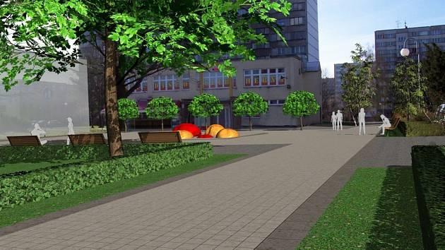 Takto by podle představ architektů mělo vypadat po rekonstrukci Školní náměstí u ZŠ Mendelova v Karviné.