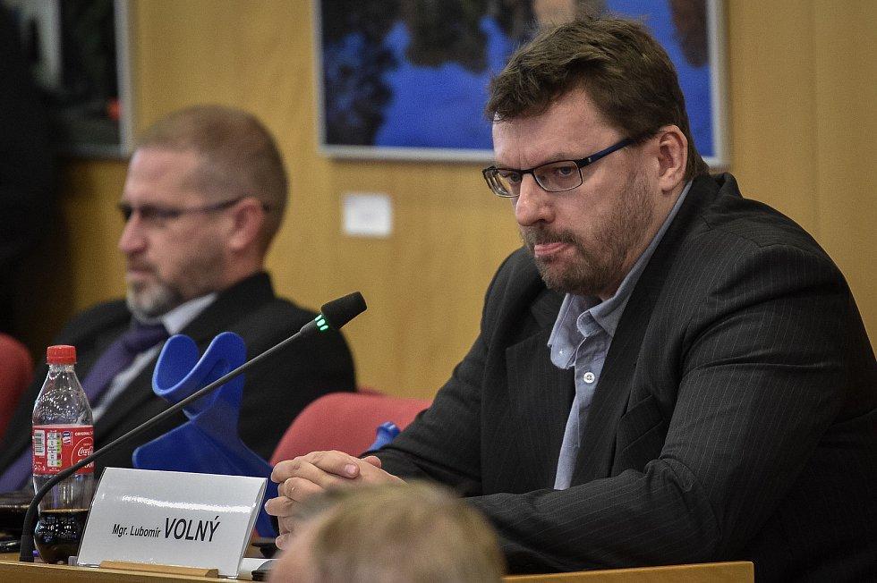 Lubomír Volný (SPD) nazasedání Krajského zastupitelstva MS Kraje, 13. března 2019 v Ostravě.