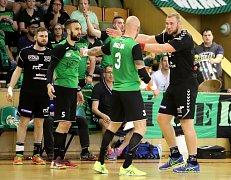Házenkáři Karviné (v zeleném) si poradili s Lovosicemi i podruhé a vedou 2:0 na zápasy.