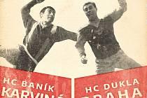 Dobové fotografie hráčů ze sezony 1968 (vlevo Karel Pospěch) se ocitly na retroplakátu s pozvánkou na poslední utkání základní části extraligy.