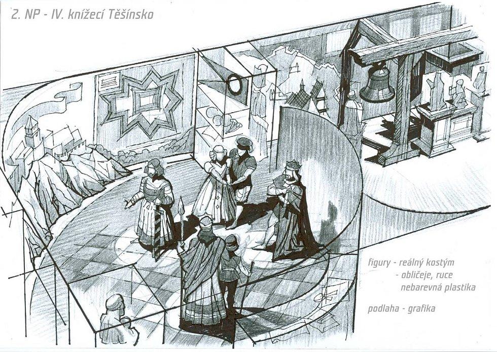 Návštěvník potká i členy zdejších dávných knížecích rodů. Autorem návrhu je Ivo Plass.