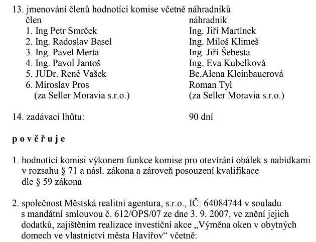 Usnesení Rady města Havířova kzakázce na výměnu oken zroku 2012.