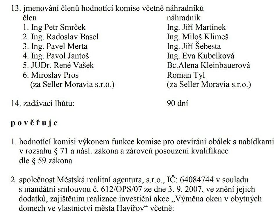 Usnesení Rady města Havířova k zakázce na výměnu oken z roku 2012.