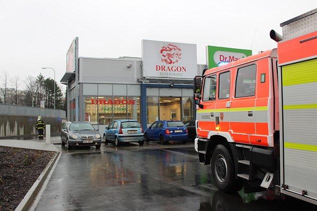 Požární signalizace v Obchodním centru Rotunda přivolala hasiče.