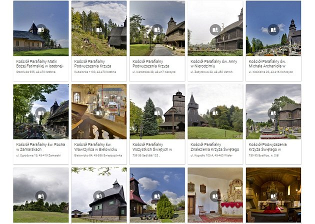 Webové stránky s nabídkou virtuální prohlídky dřevěných kostelů.