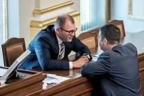 Tomáš Hanzel s Janem Hamáčkem ve sněmovně.