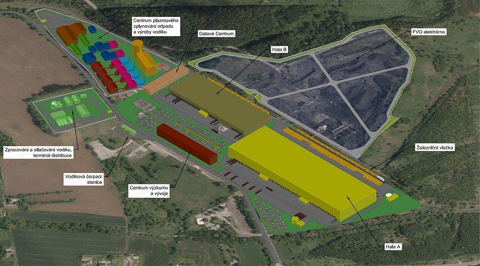 Nadhled jihozápadní, navrhovaný stav rozdělení průmyslové zóny PODOLUPARK Karviná.