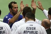 Radek Štěpánek po vítězném utkání s Andreasem Seppim.