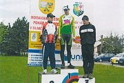 Ondřej Fierla v roce 2009 na nejvyšším stupni za vítězství v závodě O pohár starosty Orlové.