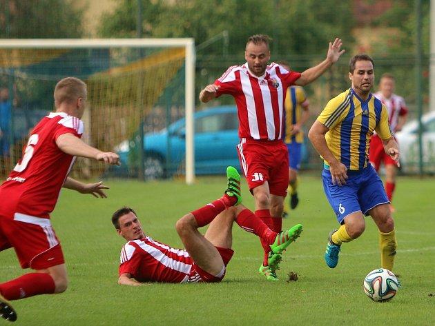Derby Bohumína a Orlové (červenobílé dresy) branku nenabídlo.