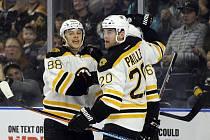 David Pastrňák (vlevo) zahájí novou sezonu v nižší AHL.